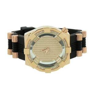Rose Gold Tone Watch Bullet Design Band Silicone Rubber Band Simulated Diamonds