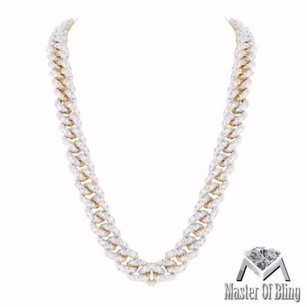 Rosegold Finish Chain Mens Miami Cuban Link Iced Out Simulated Lab Diamonds