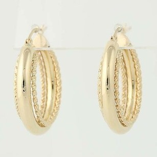 Other Round Hoop Earrings - 14k Yellow Gold Rope Details Pierced
