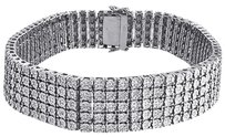Row Mens Diamond Bracelet .925 Sterling Silver Round Cut Ct