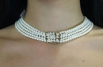 Other Row Pearls 1.13 Carat Diamonds Tulip Clasp 15.5 Choker 18k Yellow Gold N30