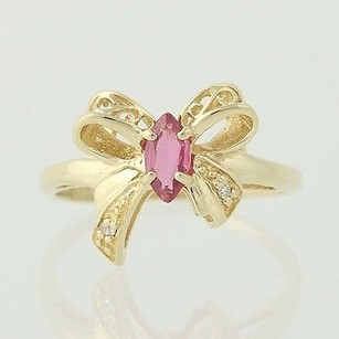 Ruby Diamond Bow Ring - 10k Yellow Gold July Birthstone .36ctw