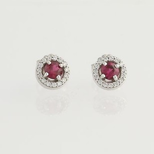 Other Ruby Diamond Halo Stud Earrings - 14k White Gold Pierced Round Cut 0.80ctw