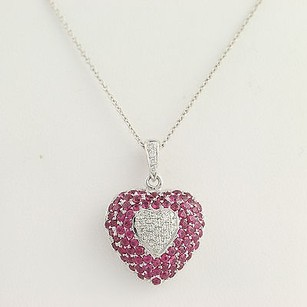 Ruby Diamond Heart Pendant Necklace 18 - 18k 14k White Gold Genuine 3.36ctw