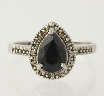 Other Sapphire Cocktail Ring - Sterling Silver Pear Diamond Accents Fashion
