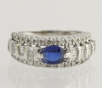 Other Sapphire Diamond Cocktail Band - 10k White Gold Anniversary Genuine 1.76ctw