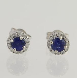 Sapphire Diamond Earrings - 14k White Gold Pierced Genuine .98ctw