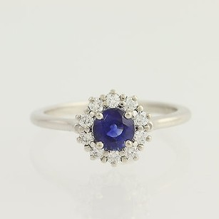 Other Sapphire Diamond Ring - 14k White Gold September Halo .88ctw