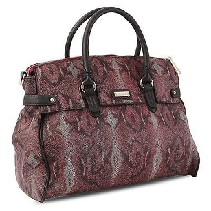 Other Miadora Rebecca Python Embossed Snake Framed 5 Drop Satchel in Burgundy