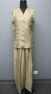 Sergio Pellari Taupe Brown Linen Button Up Top Wide Leg Pant Set Sm Sm1643