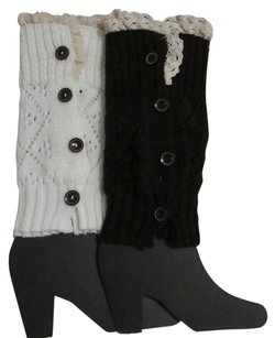 Set 2 Knit Leg Warmers/ Boot Cuffs W/ Lace and Buttons