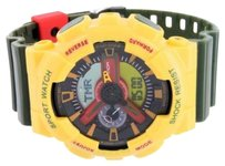Other Shock Resistant Sports Watch Yellow Bezel Green Band Digital Analog Water Resist