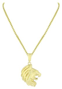 Side View Lion Face Pendant Designer 18k Yellow Gold Plated Box Chain