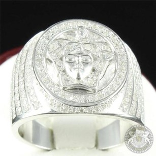 Mens Pinky Band Sterling Silver Medusa Signet Ring Gorgon Iced Out Rapper Bling