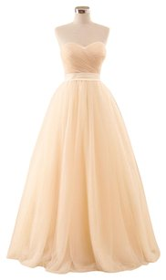 Pink/Peach Champagne Tulle Romantic Princess Gown Feminine Wedding Dress Size 6 (S)