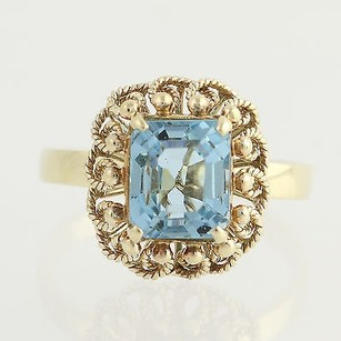 Simulated Blue Topaz Cocktail Ring - 14k Yellow Gold Glass Gemstone