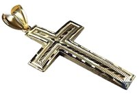 Other Solid 10k Yellow Gold Dome Sharp Edge Diamond Cut Cross 2.25 Inch Pendant Charm