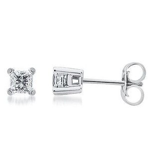 Solid 14k White Gold Princess Diamond Solitaire Studs Earrings 14 Ct