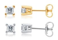 Solid 14k White Or Yellow Gold Princess Iamond Solitaire Studs Earrings 14 Ct