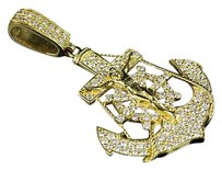 Other Solid 14k Yellow Gold Diamond Anchor Cross Crucifix Pendant Charm Inch 1.85 Ct