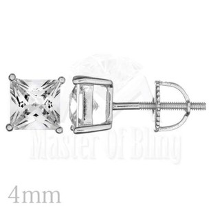 Solid 925 Silver Platinum Plated Princess Cut Cubic Zirconia Stud Earrings Gift