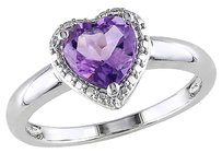 Other 1 Ct Tgw Amethyst Heart Love Fashion Ring In Sterling Silver