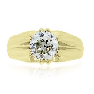 14k Yellow Gold 2.39ct Round Brilliant Gents Diamond Ring