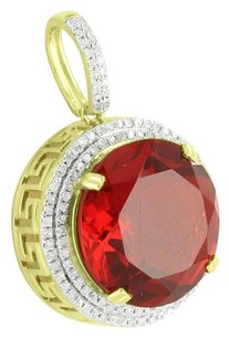 Other Solitaire Round Cut Ruby Pendant 10k Gold Medusa Greek Design Genuine Diamonds