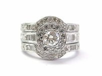 Fine 3-ring Diamond Engagement Wedding Set Wg 1.50ct