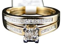 Womens Yellow Gold Diamond Princess Cut Engagement Wedding Ring Band Bridal Set
