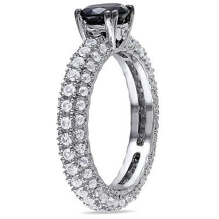 Other Sterling Silver 2 12 Ct Black Spinel Created White Sapphire Engagement Ring