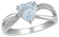 Other Sterling Silver 1.551 Ct Diamond Aquamarine Swivel Crossover Heart Love Ring