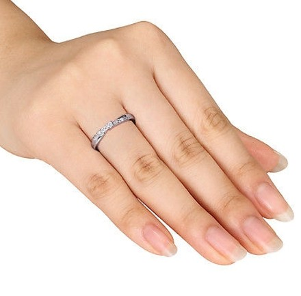 Other Sterling Silver Diamond Twist Crossover Engagement Ring Gh I2i3