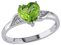 10k White Gold Diamond And 1 13 Ct Peridot Heart Love Solitaire Ring Gh I2i3