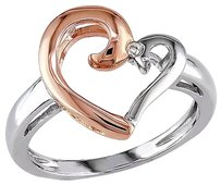 10k White Pink Gold Diamond Heart Love Two-tone Ring Gh I2i3