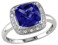 Other 10k White Gold 110 Ct Diamond 3 14 Ct Blue Sapphire Fashion Ring Gh I2-i3