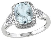 10k White Gold Diamond And 1 78 Ct Tgw Aquamarine Fashion Ring Gh I1-i2
