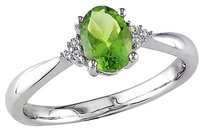 Other 0.85 Ct Tw Diamond And Peridot Fashion Ring In Sterling Silver I3