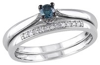 Sterling Silver 16 Ct Tw Blue And White Diamond Ring Set Gh I2i3