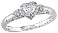 Other 14k White Gold 25 Ct Heart Love And Round Diamonds Heart Love Ring Gh I1i2