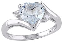 Other Sterling Silver Diamond And 1 34 Ct Aquamarine Heart Love Solitaire Ring I2i3