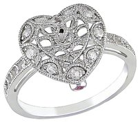 10k White Gold 15 Ct Diamond And Pink Sapphire Heart Geometric Ring Gh I2i3