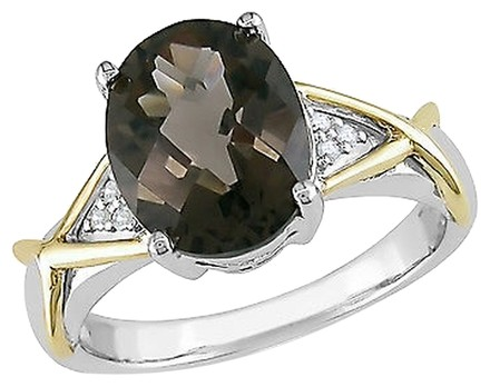 Other 10k Yellow Gold And Silver Diamond 2 34 Ct Smokey Quartz Crossover Fashion Ring