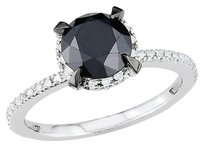 10k White Gold 2 Ct Black And White Diamond Tw Fashion Ring Gh I2i3