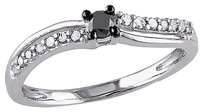 Other Sterling Silver 14 Ct Black And White Diamond Fashion Curved Studded Ring I3
