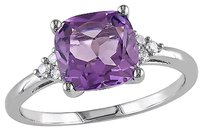 Other 10k White Gold Diamond And 1 34 Ct Tgw Amethyst Fashion Ring Gh I2-i3