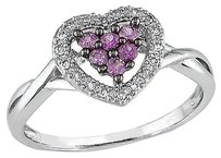 Other 10k White Gold Diamond And 15 Ct Pink Sapphire Heart Solitaire Ring Gh I2i3
