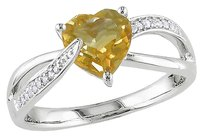 Other Sterling Silver 1.201 Ct Tw Diamond And Citrine Swivel Crossover Ring Gh I3