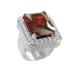 Fully Iced Rick Ross Celeb Style Red Garnet Ruby 925 Silver Lab Diamond Ring