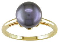 Other 14k Yellow Gold Black Cultured Akoya Pearl Cocktail Ring 8-8.5 Mm
